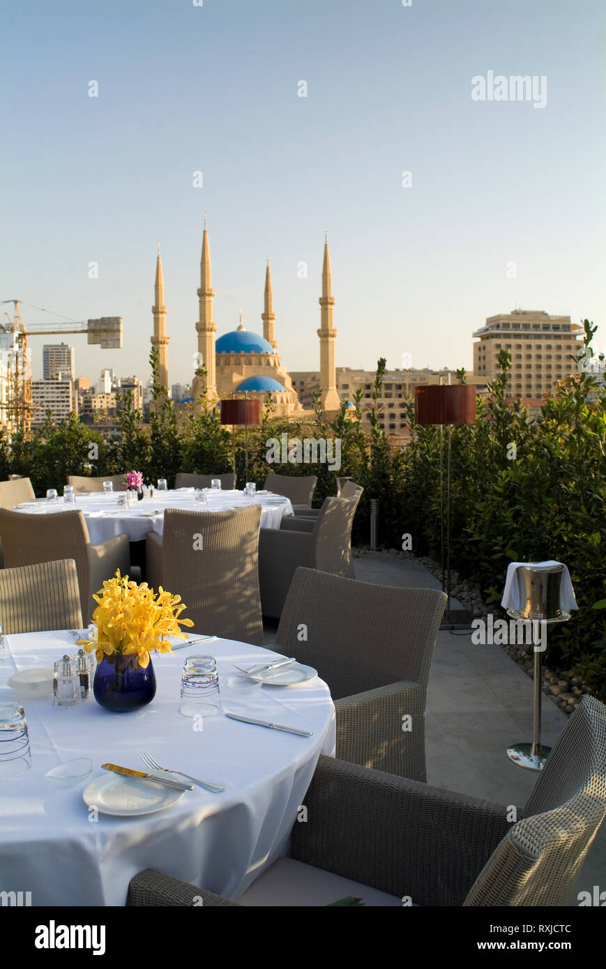 The view over the Mohammad al-Amin Mosque from restaurant Indigo on the Roof at Le Gray Hotel. The hotel was a long time in the making; construction i - Stock Image