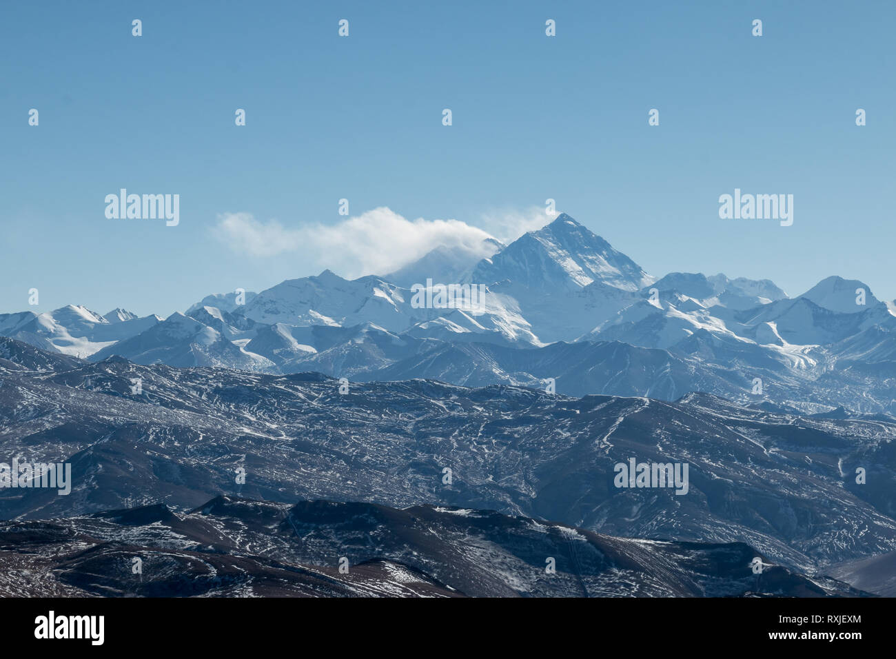 View of Mountain Everest, the highest peak on Earth, from the north (Tibet) side. - Stock Image