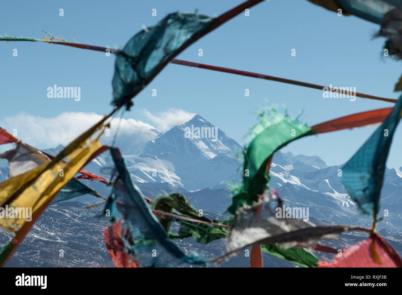 View of  prayer flags with Mountain Everest, the highest peak on Earth,  in the background. North (Tibet) side. - Stock Image