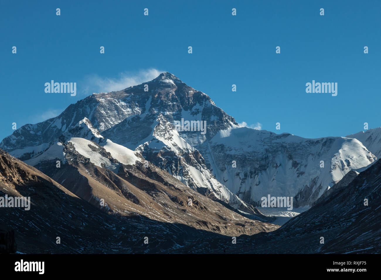 View of Mountain Everest's north ride, taken from base camp in Tibet. - Stock Image