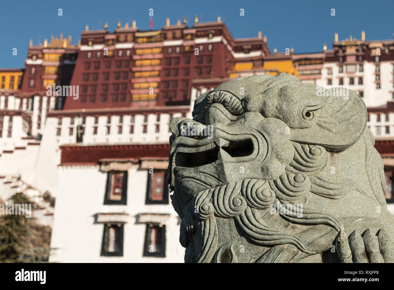Potala Palace in Lhasa, Tibet - a spectacular palace set on a hillside which was once home to the Dalai Lama and is now a major tourist attraction. - Stock Image