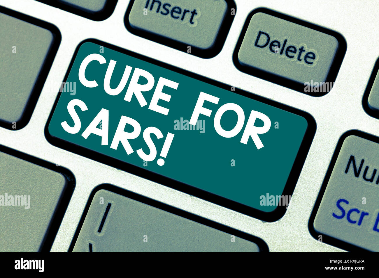 Word writing text Cure For Sars. Business concept for Medical treatment over severe acute respiratory syndrome Keyboard key Intention to create comput - Stock Image
