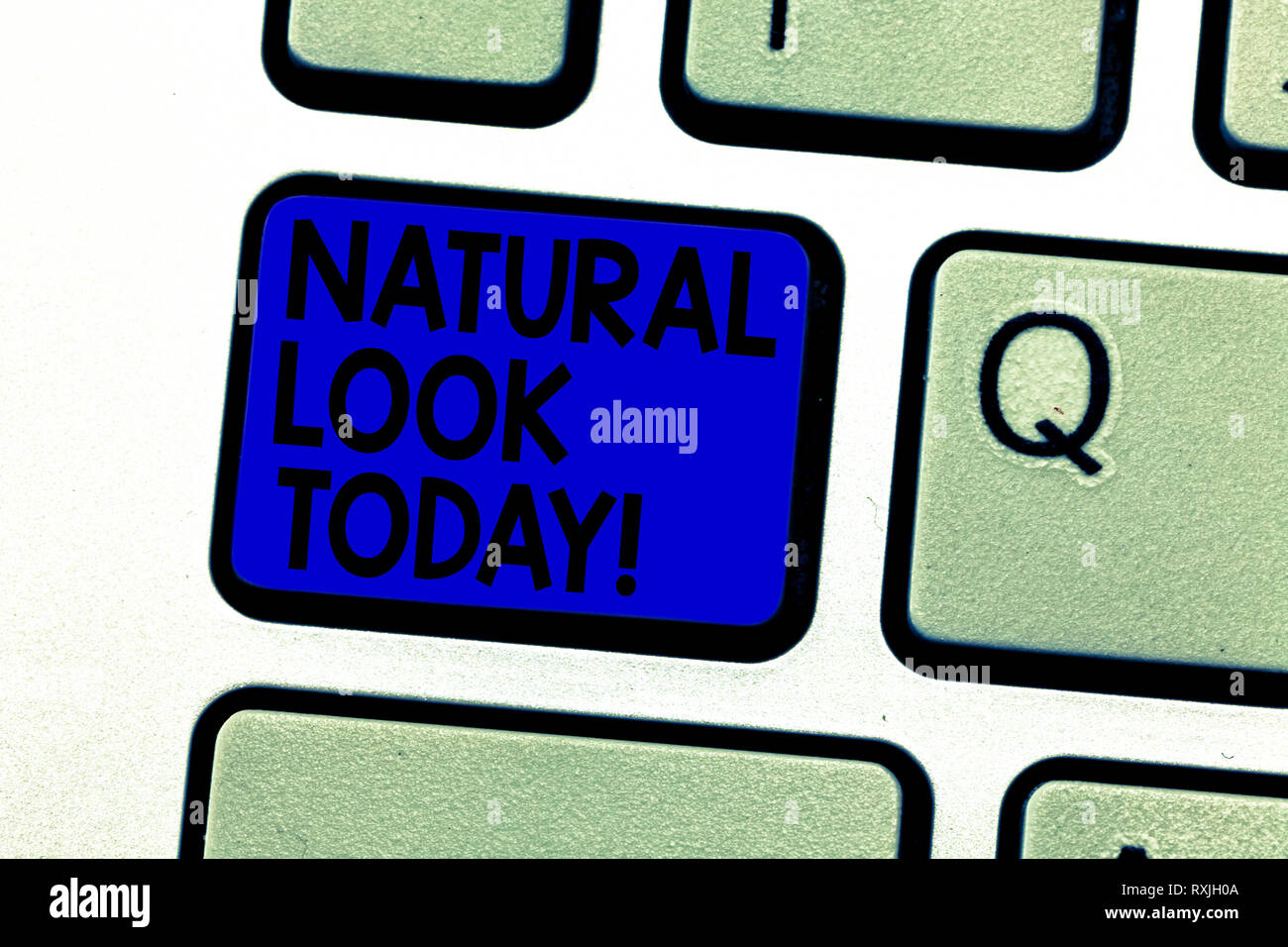 Writing note showing Natural Look Today. Business photo showcasing not made or caused by showing or chemical substance Keyboard key Intention to creat - Stock Image