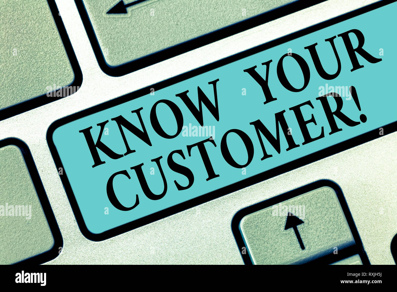 Handwriting text writing Know Your Customer. Concept meaning verifying identity clients and assessing potential risks Keyboard key Intention to create - Stock Image