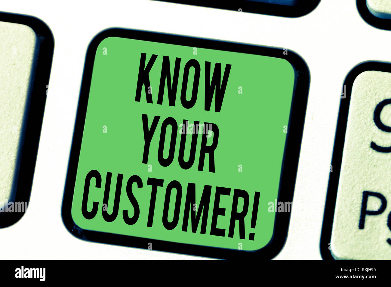 Word writing text Know Your Customer. Business concept for verifying identity clients and assessing potential risks Keyboard key Intention to create c - Stock Image