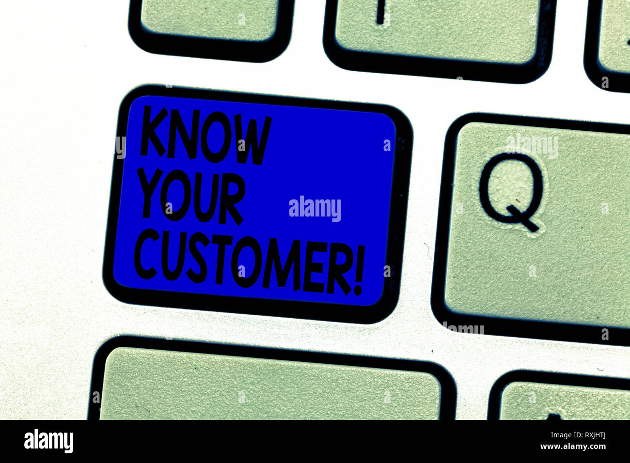 Writing note showing Know Your Customer. Business photo showcasing verifying identity clients and assessing potential risks Keyboard key Intention to  - Stock Image