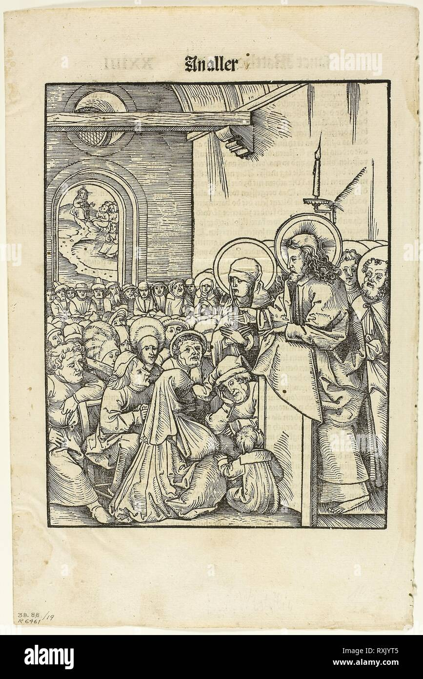 Christ Preaching, from Leben Jesu Christi, plate 19 from Woodcuts from Books of the XVI Century. Hans Wechtlin (German, 1480/85-after 1526); published by Johann Schott (German, 1477-c. 1550); portfolio text by by Max Geisberg (Swiss, 1875-1943). Date: 1508. Dimensions: 230 × 165 mm (image/te×t); 299 × 195 mm (sheet). Woodcut in black with letterpress on cream laid paper. Origin: Germany. Museum: The Chicago Art Institute. - Stock Image