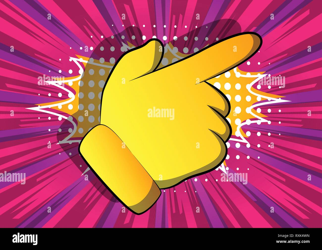 Vector cartoon pointing hand. Illustrated hand expression, gesture on comic book background. - Stock Vector