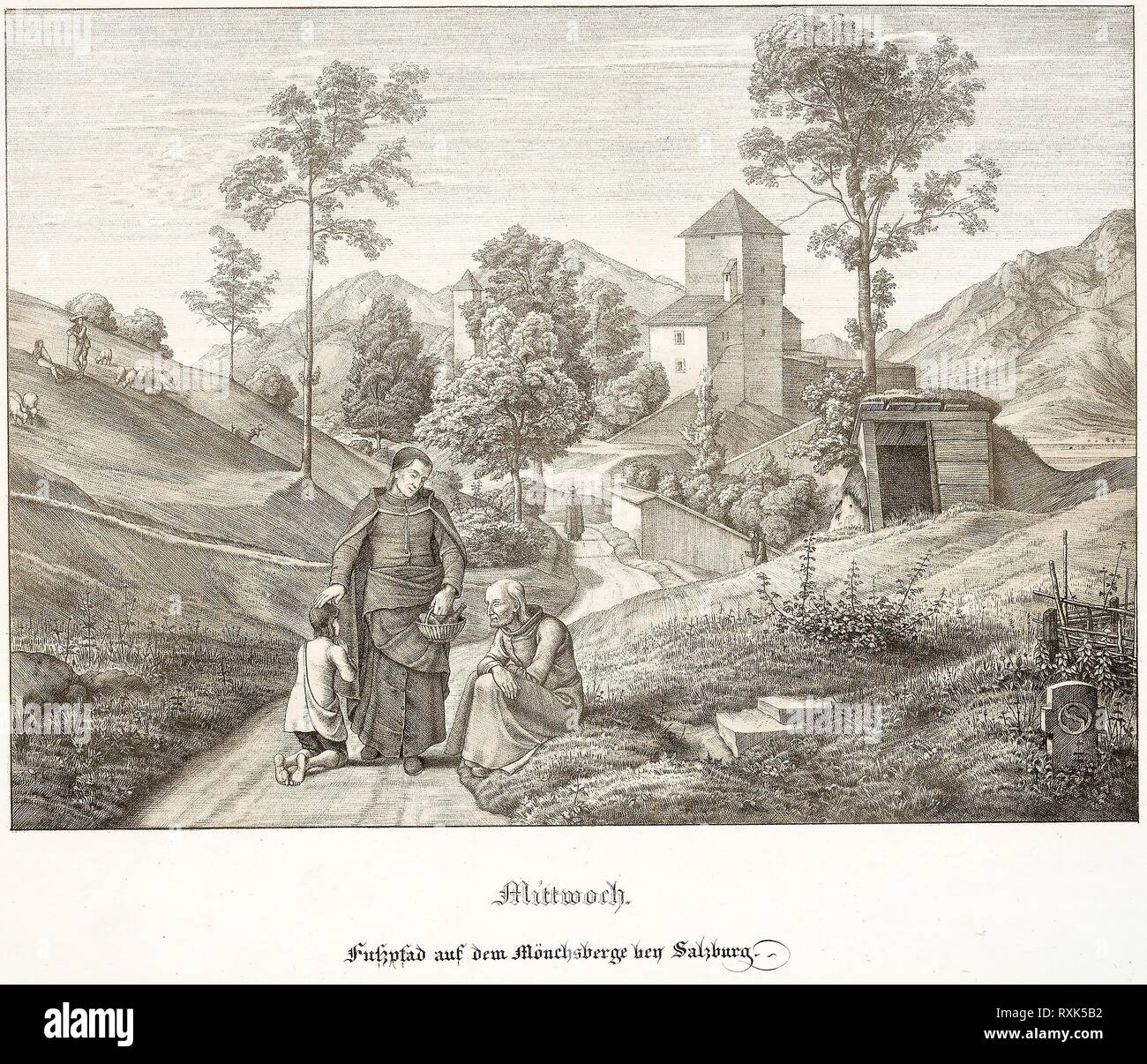Wednesday: Footpath on the Mönchsberg Near Salzburg. Ferdinand Olivier; German, 1785-1841. Date: 1823. Dimensions: 200 x 275 mm (image); 370 x 529 mm (sheet). Lithograph with tint-stone on white wove paper. Origin: Germany. Museum: The Chicago Art Institute. Stock Photo