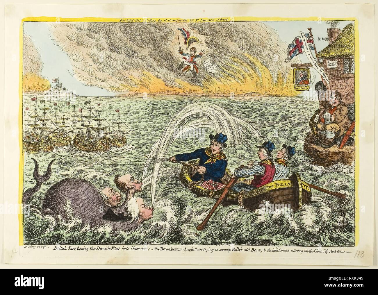 British Tars, Towing the Danish Fleet into Harbour. James Gillray (English, 1756-1815); published by Hannah Humphrey (English, c. 1745-1818). Date: 1807. Dimensions: 230 × 340 mm (image); 248 × 350 mm (plate); 270 × 380 mm (sheet). Hand-colored etching on paper. Origin: England. Museum: The Chicago Art Institute. - Stock Image