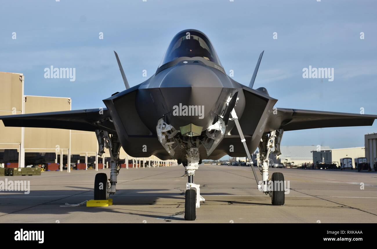 A U.S. Air Force F-35 Joint Strike Fighter (Lightning II) jet at Davis Monthan Air Force Base. This F-35 is assigned to Luke Air Force Base. - Stock Image