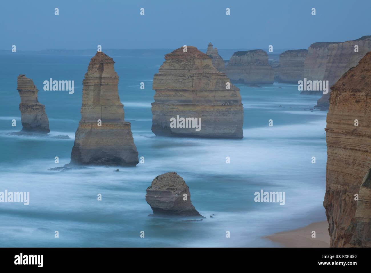 Twelve Apostles 2 Miocene limestone rocks Great Ocean Road.  Port Campbell National Park. Victoria, Australia - Stock Image