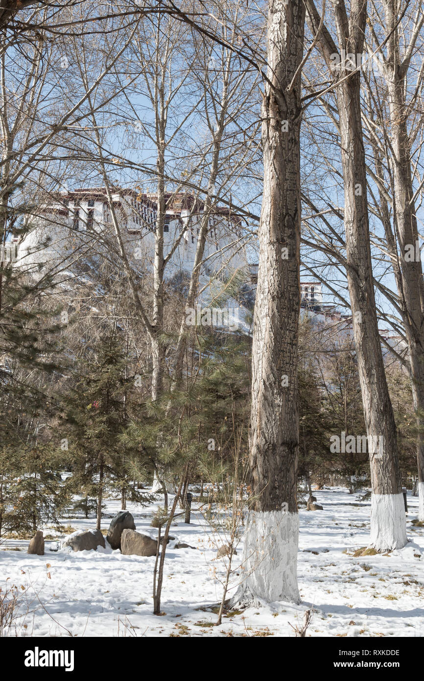 Potala Palace, once home to the Dalai Lama, on a hillside in Lhasa, Tibet, during winter. - Stock Image