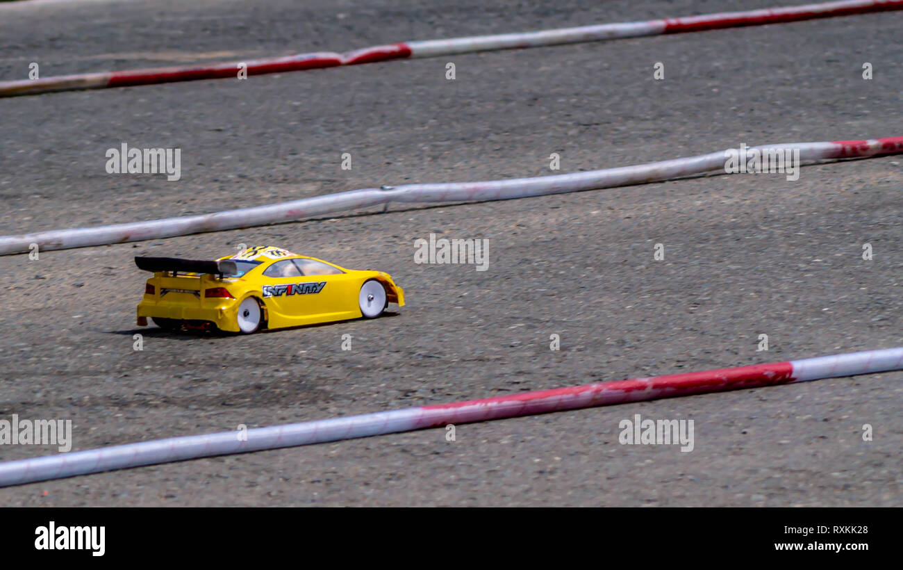 Remote Control Car Race Competition On Tarmac Circuit Stock Photo Alamy