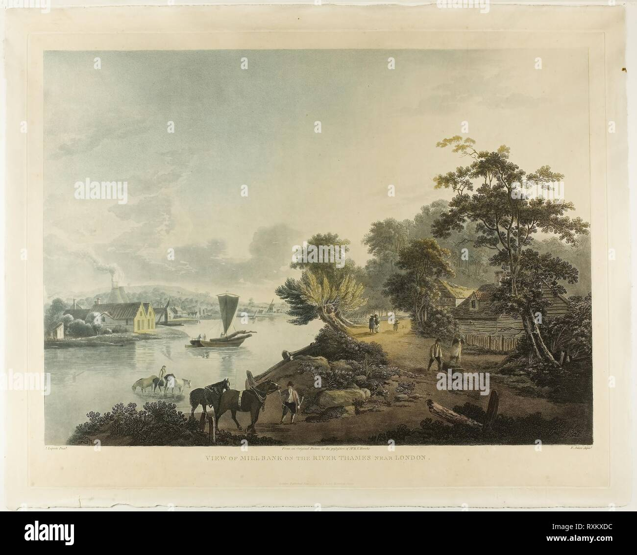 View of Hillbank on the River Thames near London. Francis Jukes (English, 1745-1812); after John Laporte (English, 1761-1839). Date: 1795. Dimensions: . Color aquatint on paper. Origin: England. Museum: The Chicago Art Institute. Stock Photo