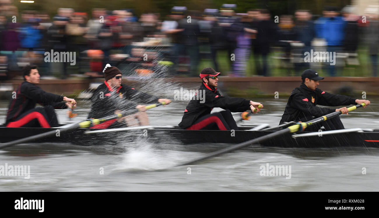 A crew from Jesus College during the final day of the Cambridge University Lent Bumps along the River Cam in Cambridge. - Stock Image