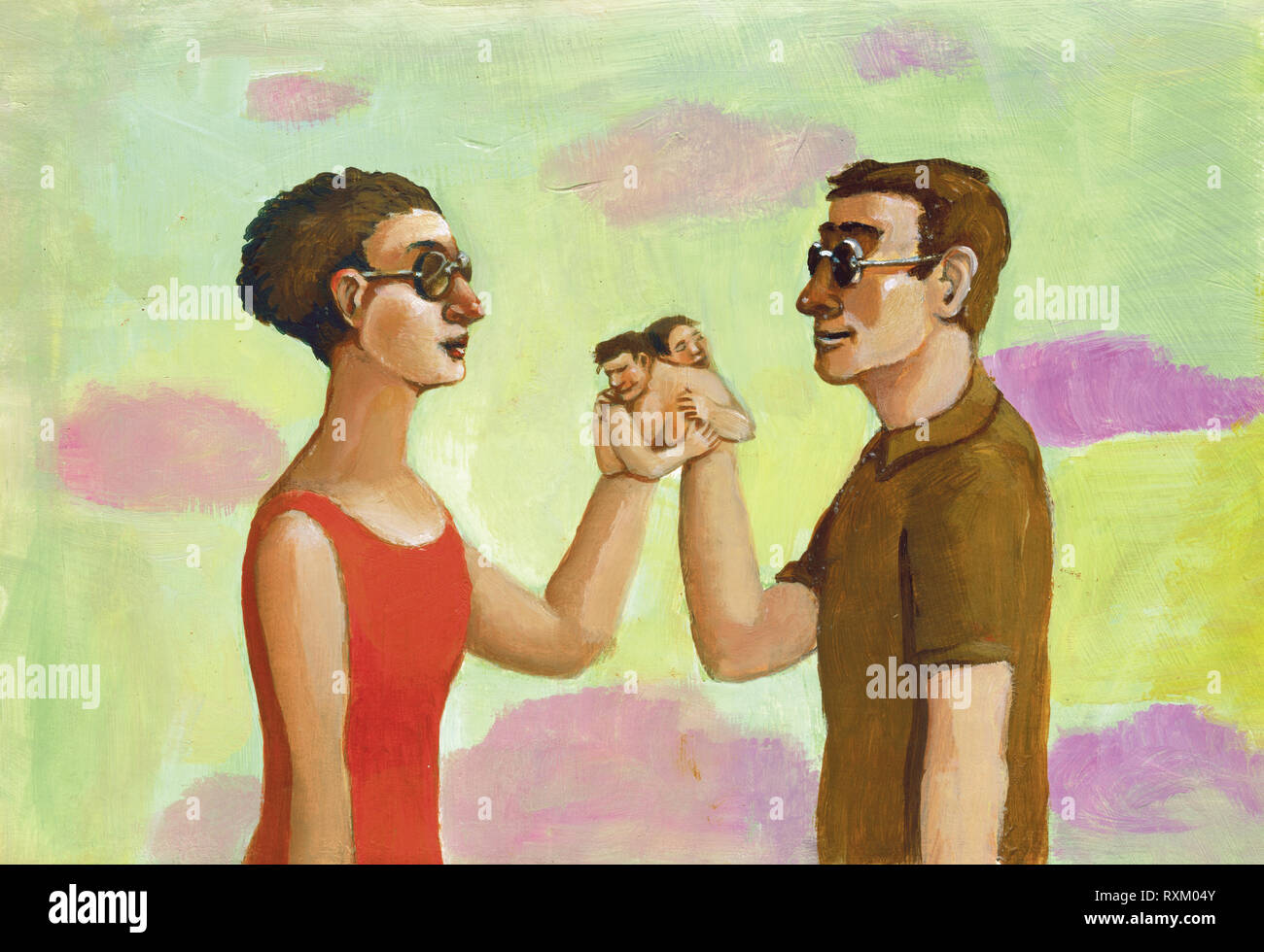 a couple has not the dark glasses of the seeing, to recognize their hands  are turned into people that are embraced surreal metaphisical acrylic paint - Stock Image