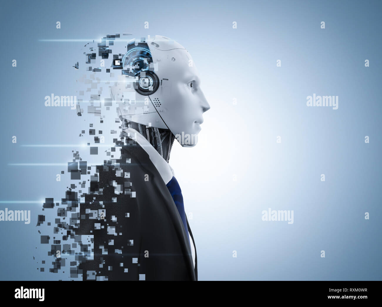 3d rendering ai robot explosion with pixelated effect Stock Photo