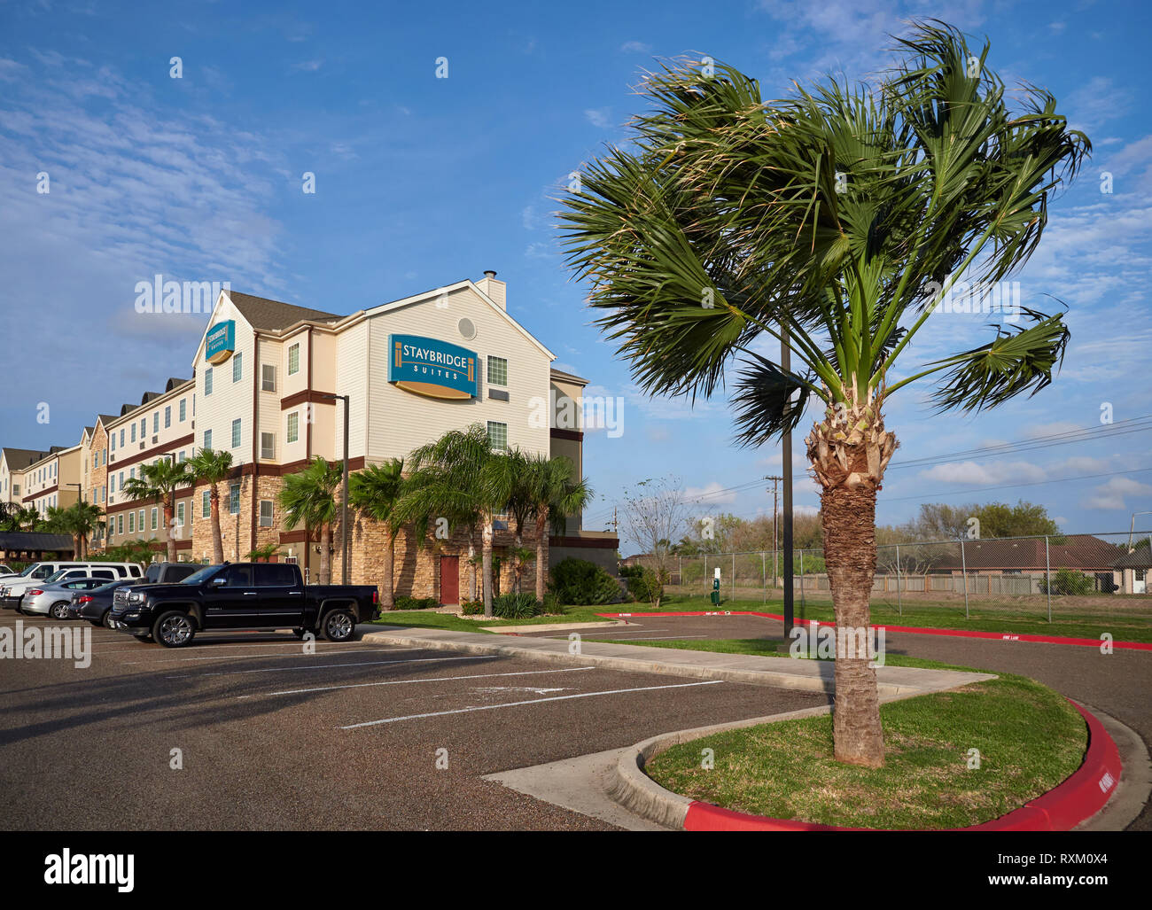 The Staybridge Suites Hotel in Brownsville, Texas on a windy bright January Afternoon. Brownsville, Texas, USA. - Stock Image