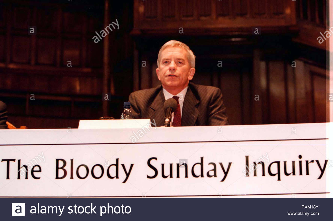 File photo dated 3/4/1998 of Lord Saville of Newdigate, who chaired the Bloody Sunday inquiry, looking into the events of the 30th January 1972, in the Bogside, Londonderry. - Stock Image