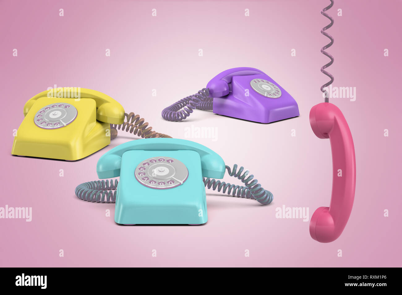 3d rendering of three telephones, purple, yellow and turquois, on a pink background with a pink receiver hanging on its wire. - Stock Image
