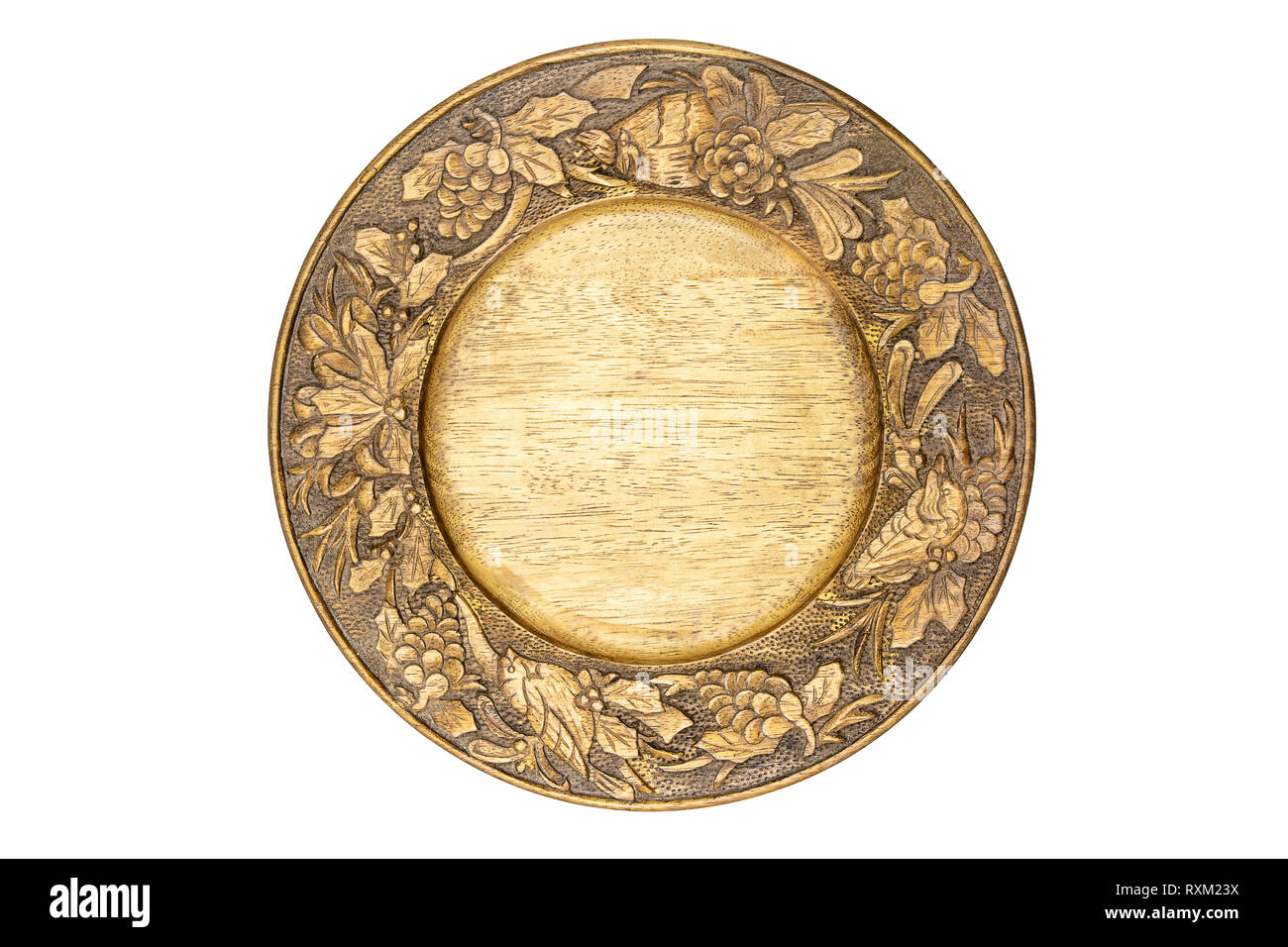 Wooden carving tray isolate on white background. - Stock Image