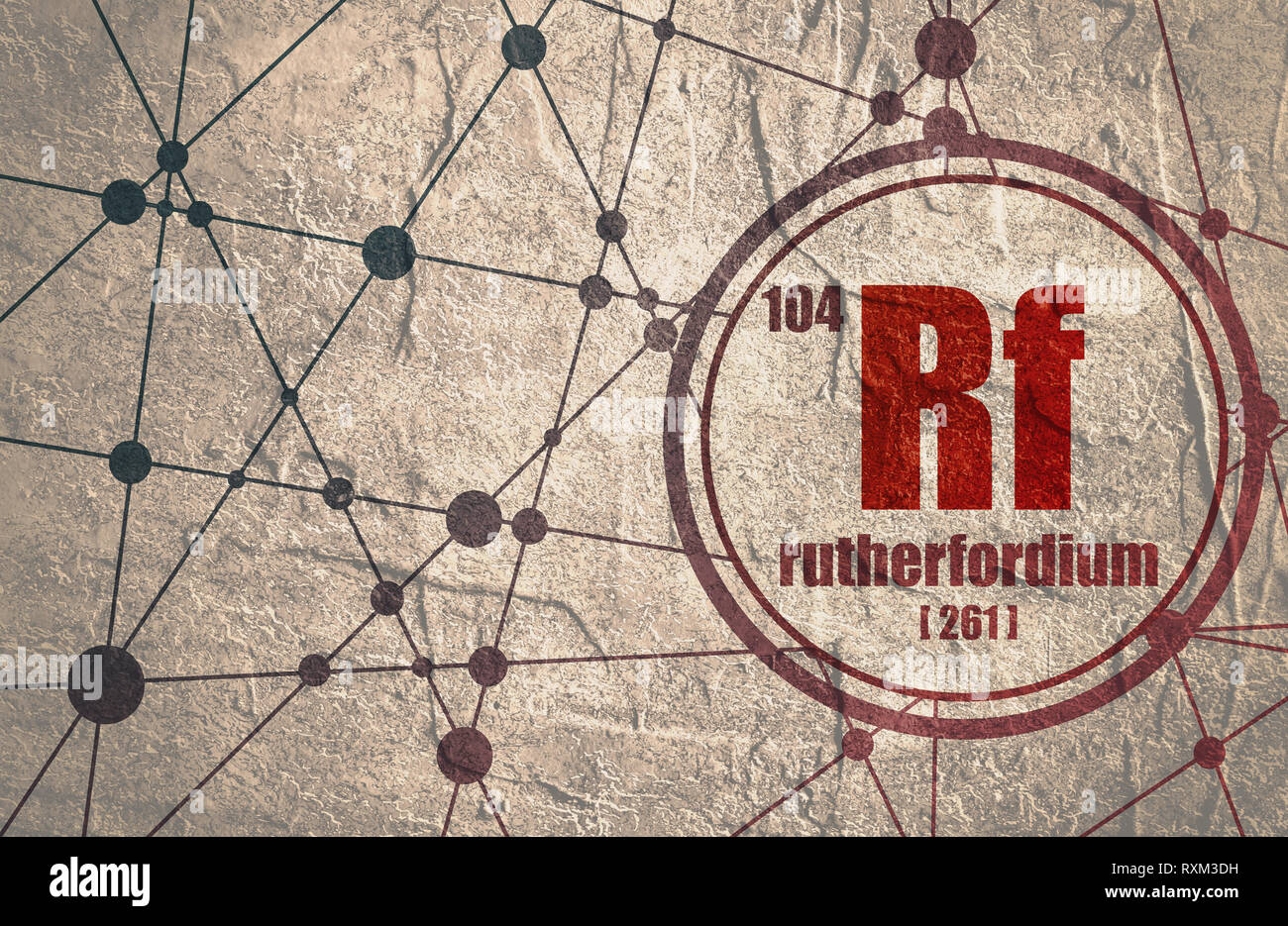 Rutherfordium chemical element. Stock Photo