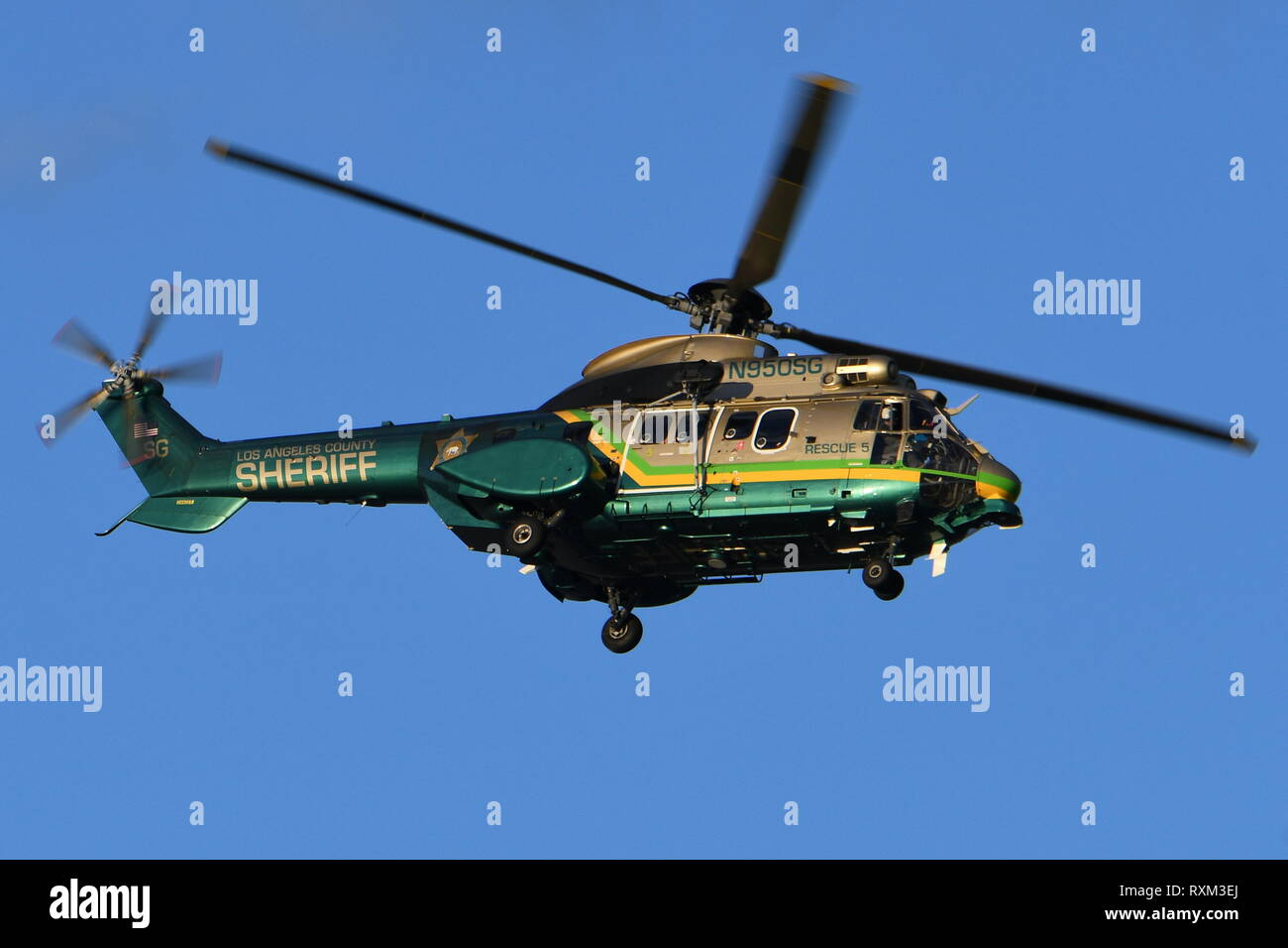 LOS ANGELES COUNTY SHERIFF DEPARTMENT EUTROCOPTER AS332L SUPER PUMA N950SG. - Stock Image