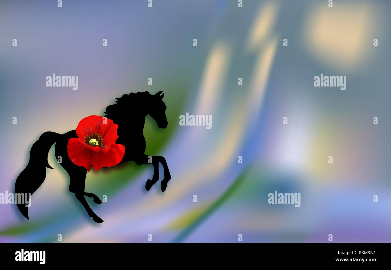 Silhouette horse. spring poppies flowers spring day. Women's spring holiday on March 8. - Stock Vector