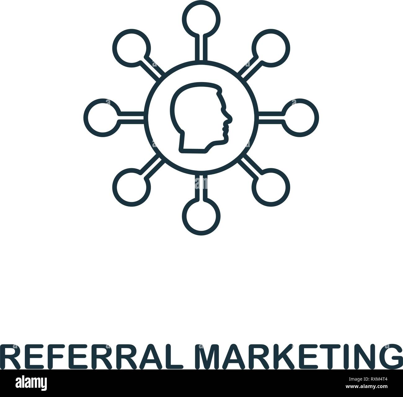 Referral Marketing icon thin line style. Symbol from online marketing icons collection. Outline referral marketing icon for web design, apps, software - Stock Image