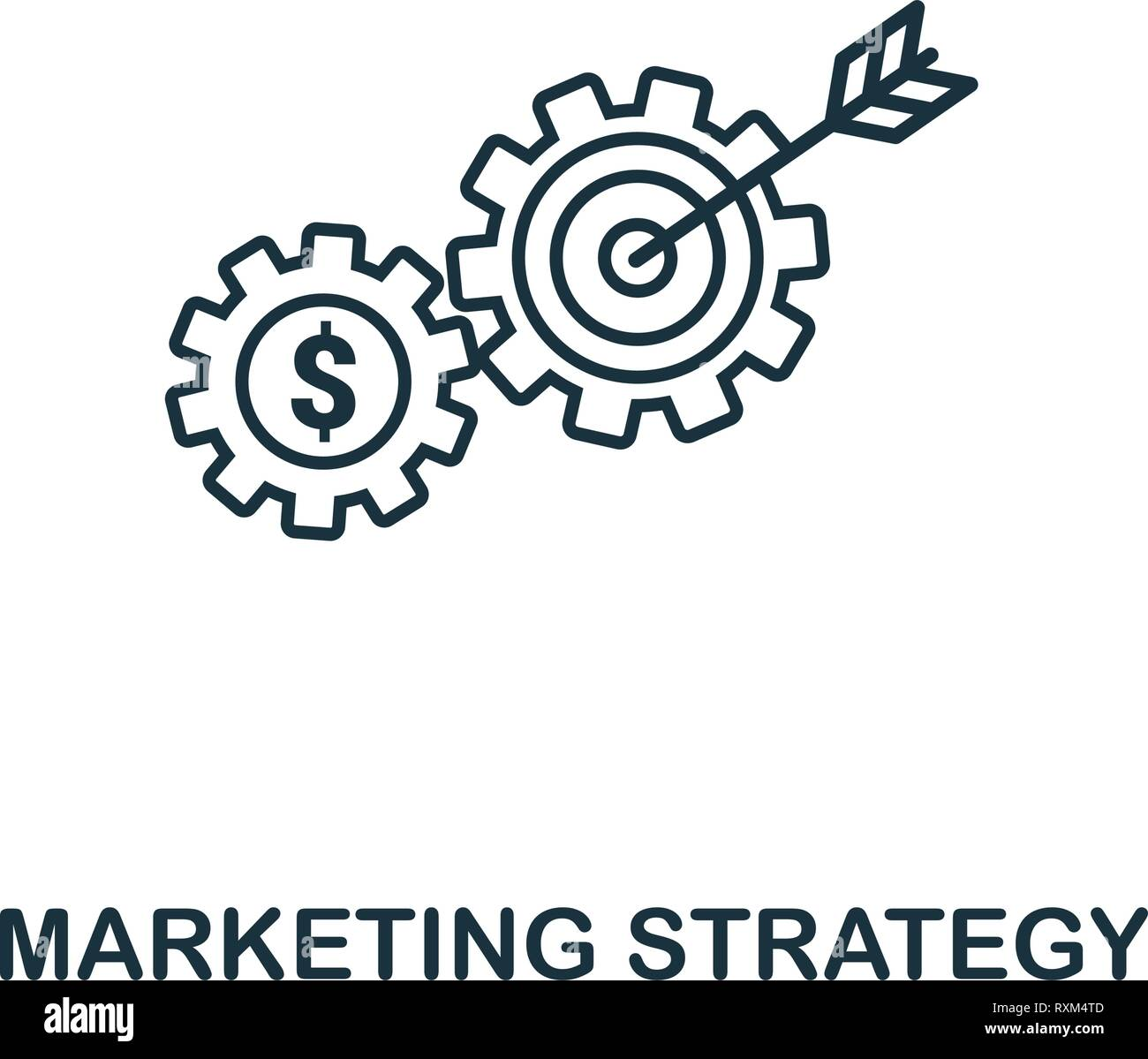 Marketing Strategy icon thin line style. Symbol from online marketing icons collection. Outline marketing strategy icon for web design, apps, software Stock Vector