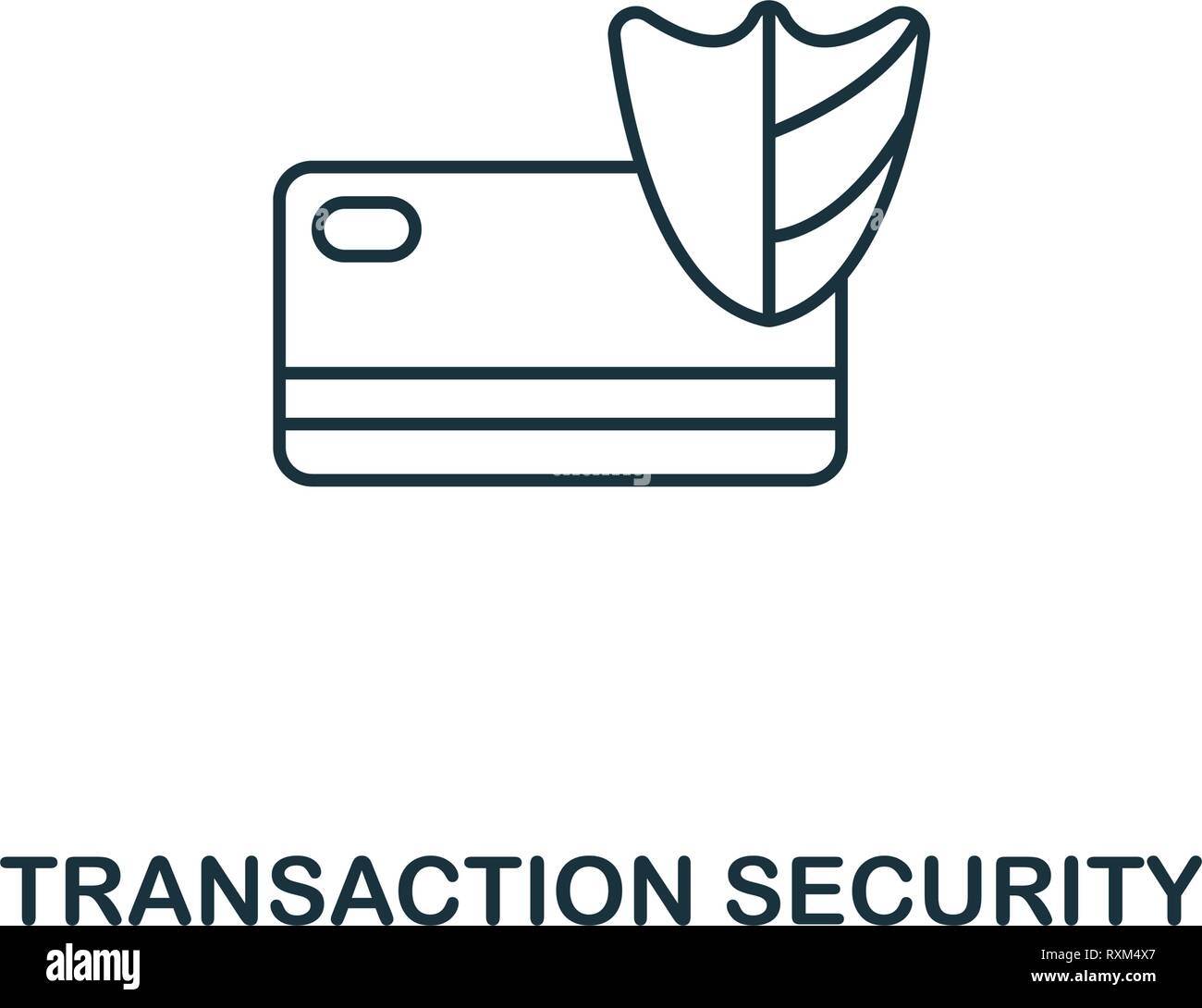 Transaction Security icon thin line style. Symbol from online marketing icons collection. Outline transaction security icon for web design, apps - Stock Vector