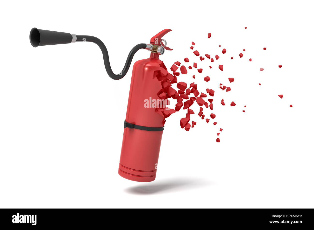 3d rendering of red fire extinguisher starting to dissolve into particles on white background. - Stock Image