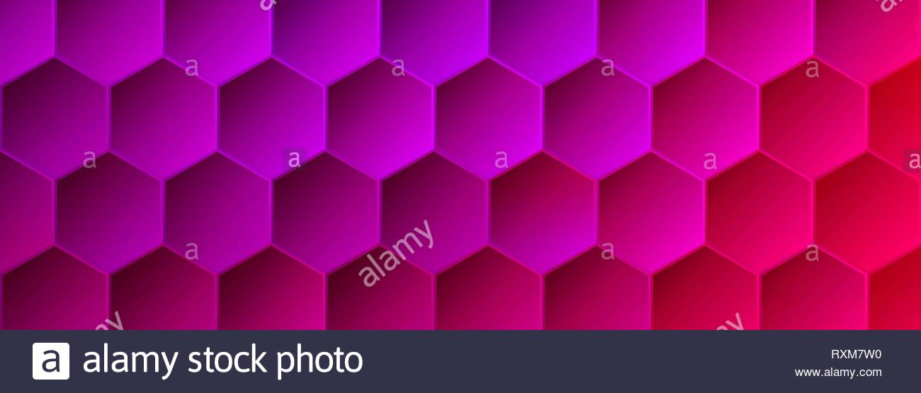 Saturated Magenta and Pink Hexagonal Backdrop - Stock Vector