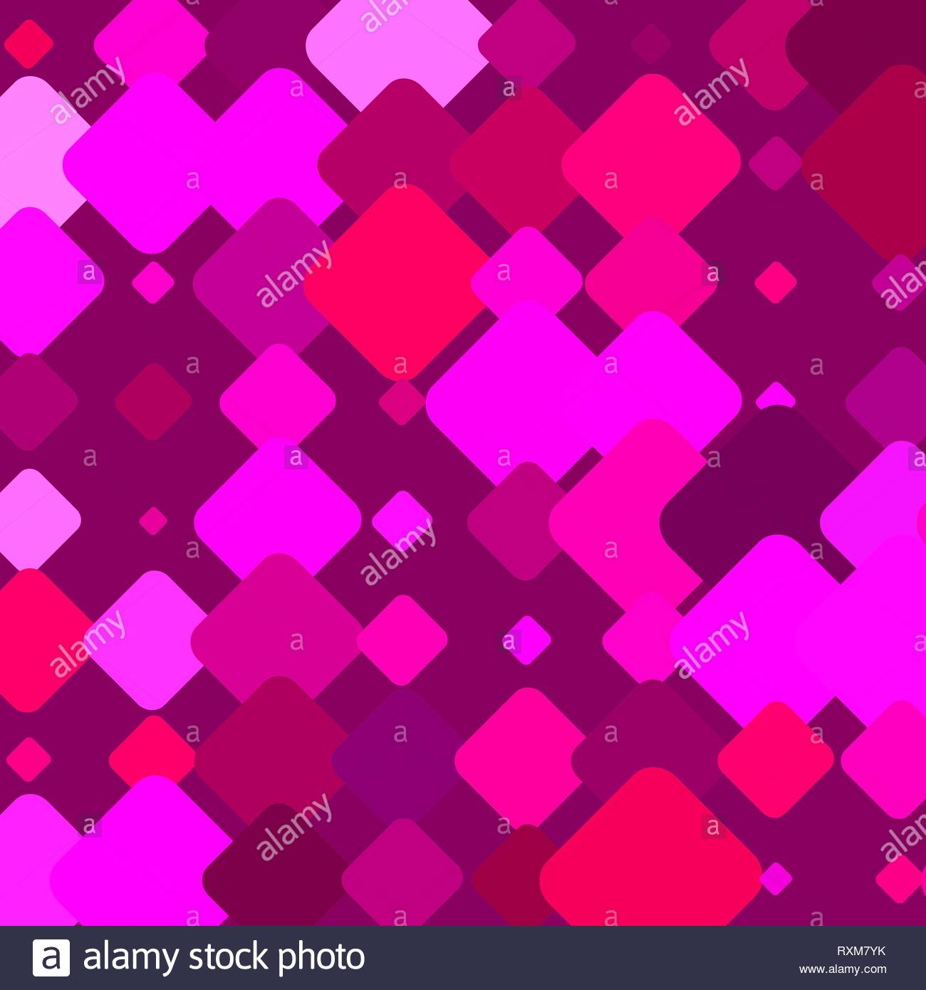 Purple BG with Colorful Magenta Square Elements - Stock Image