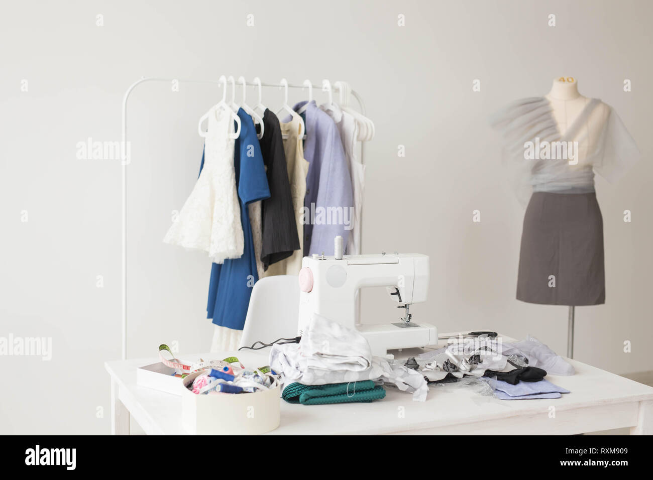 Dressmaker Fashion Designer And Tailor Concept Photo Of The Working Environment Seamstress Stock Photo Alamy