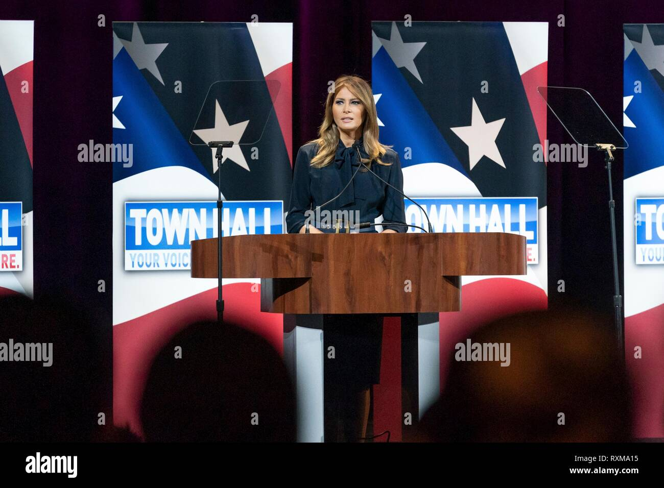 U S First Lady Melania Trump delivers an address during an Opioid