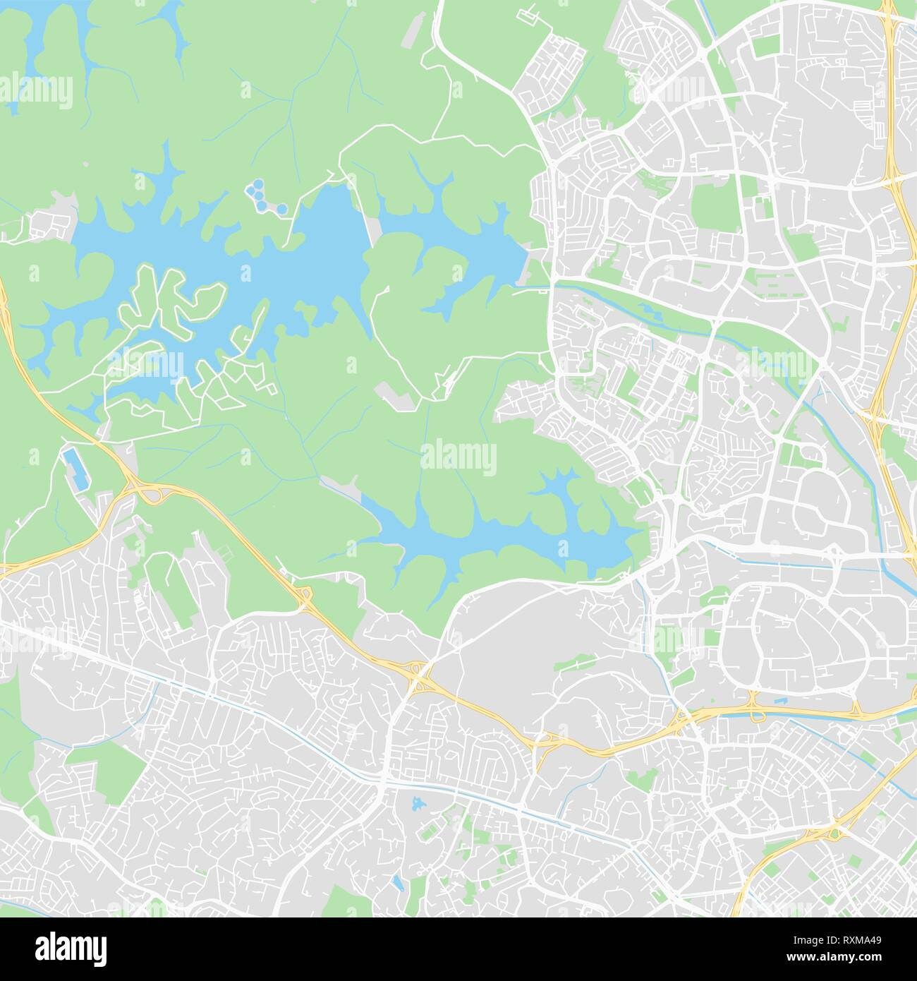 Downtown vector map of Singapore, Singapore. This printable map of Singapore contains lines and classic colored shapes for land mass, parks, water, ma Stock Vector
