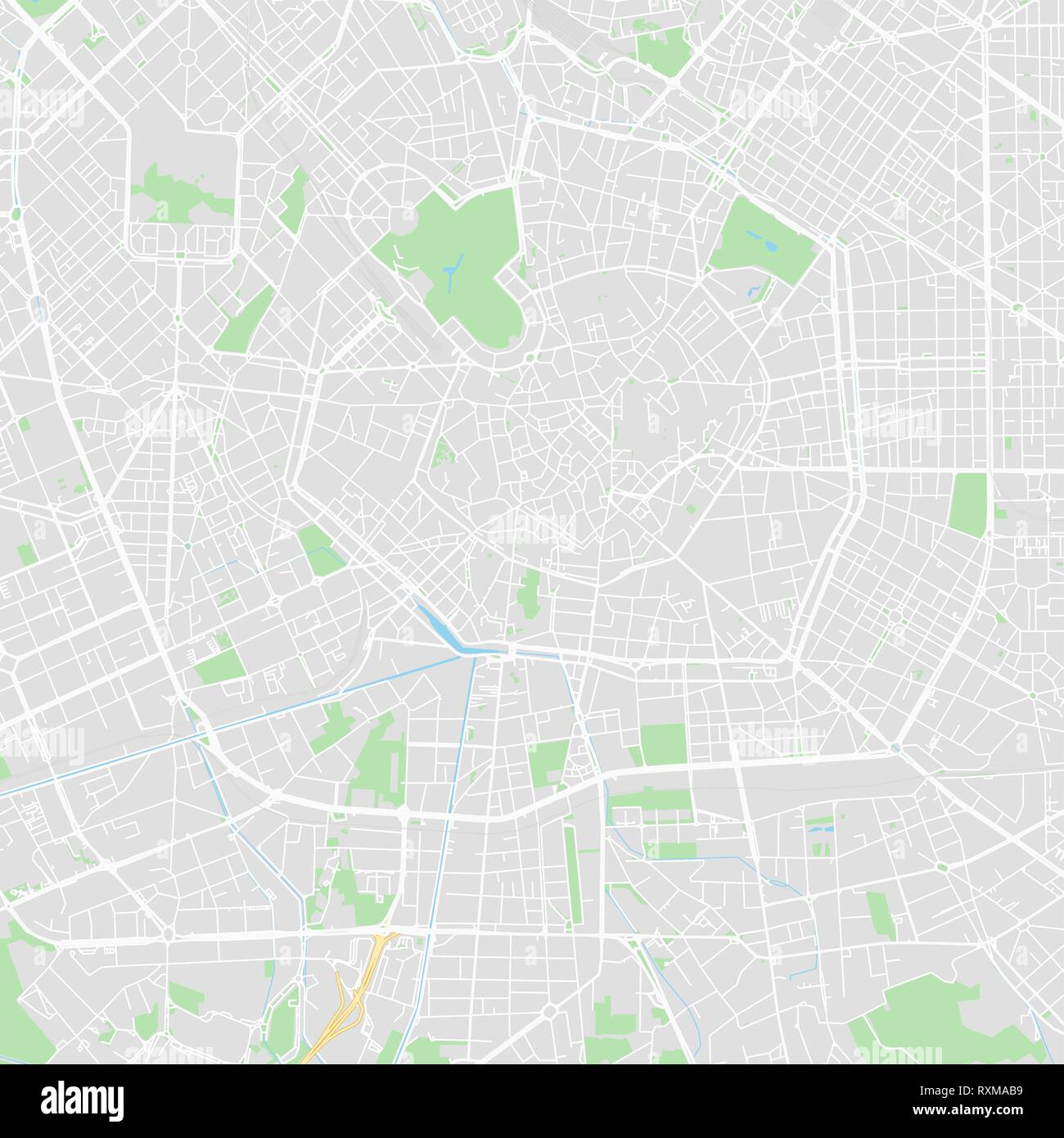 Downtown vector map of Milan, Italy. This printable map of Milan contains lines and classic colored shapes for land mass, parks, water, major and mino - Stock Vector
