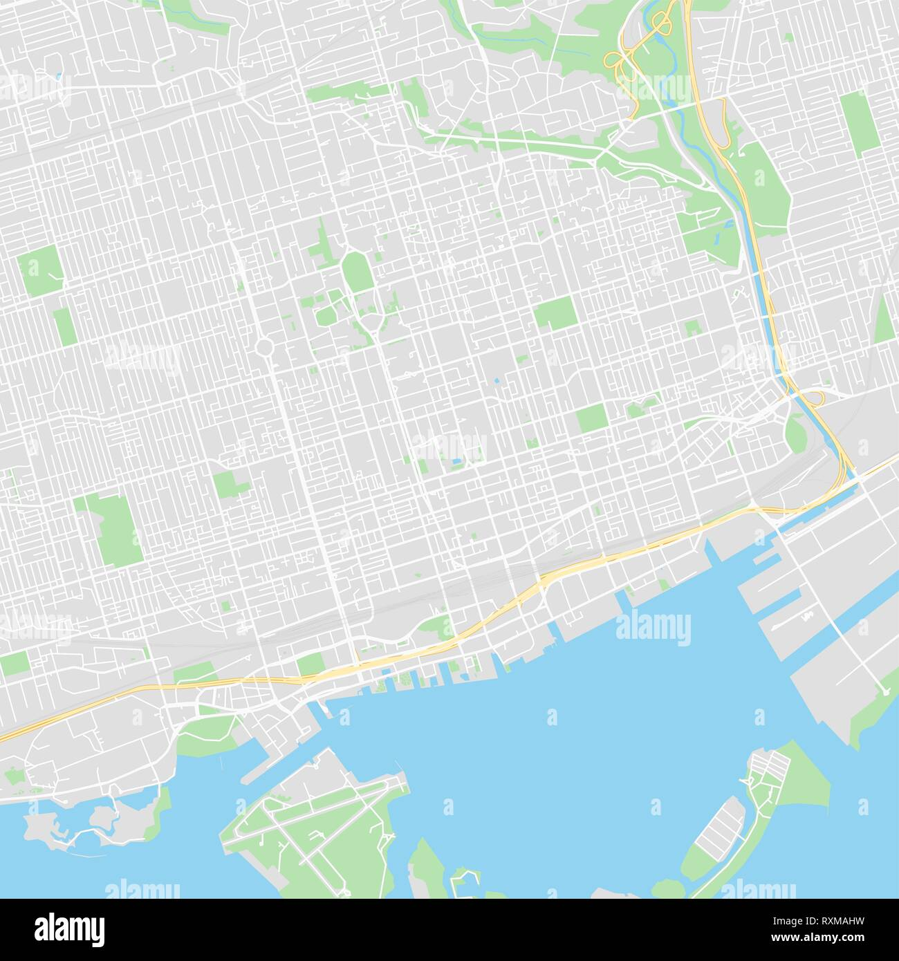 Toronto Canada Water Map Downtown vector map of Toronto, Canada. This printable map of