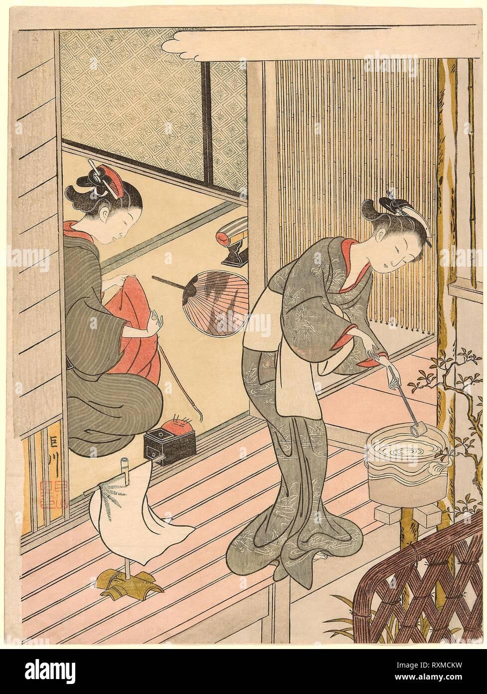 Returning Sails of the Towel Rack (Tenugui-kake no kihan), from the series 'Eight Views of the Parlor (Zashiki hakkei)'. Suzuki Harunobu ?? ??; Japanese, 1725 (?)-1770. Date: 1761-1771. Dimensions: 28.7 x 21.4 cm (11 1/4 x 8 1/2 in.). Color woodblock print; chuban, surimono. Origin: Japan. Museum: The Chicago Art Institute. - Stock Image