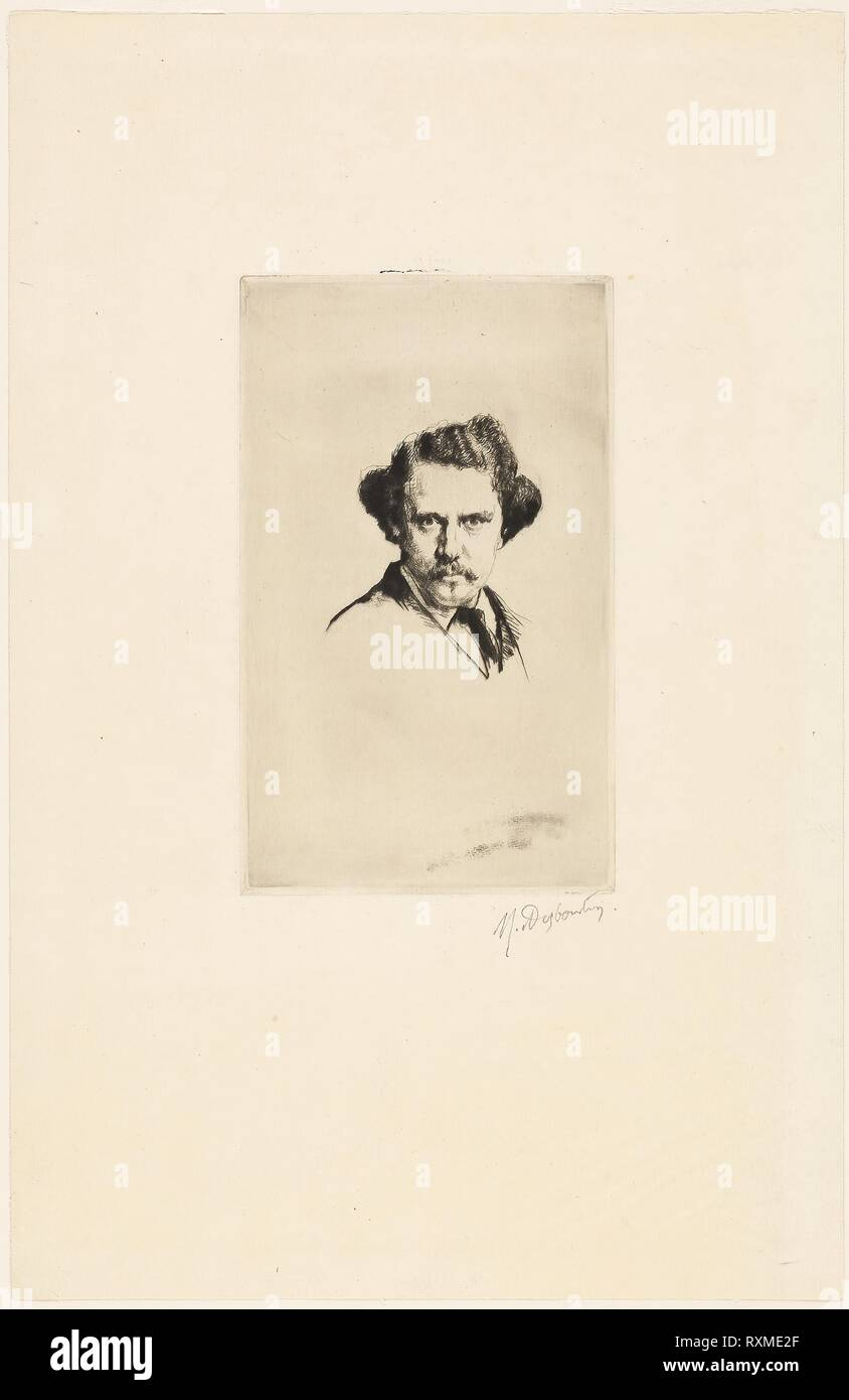 Portrait of Alfred Cadart. Marcellin Gilbert Desboutin; French, 1823-1902. Date: 1875. Dimensions: 218 × 132 mm (plate); 450 × 292 mm (sheet). Drypoint, with plate tone, on tan laid paper. Origin: France. Museum: The Chicago Art Institute. - Stock Image