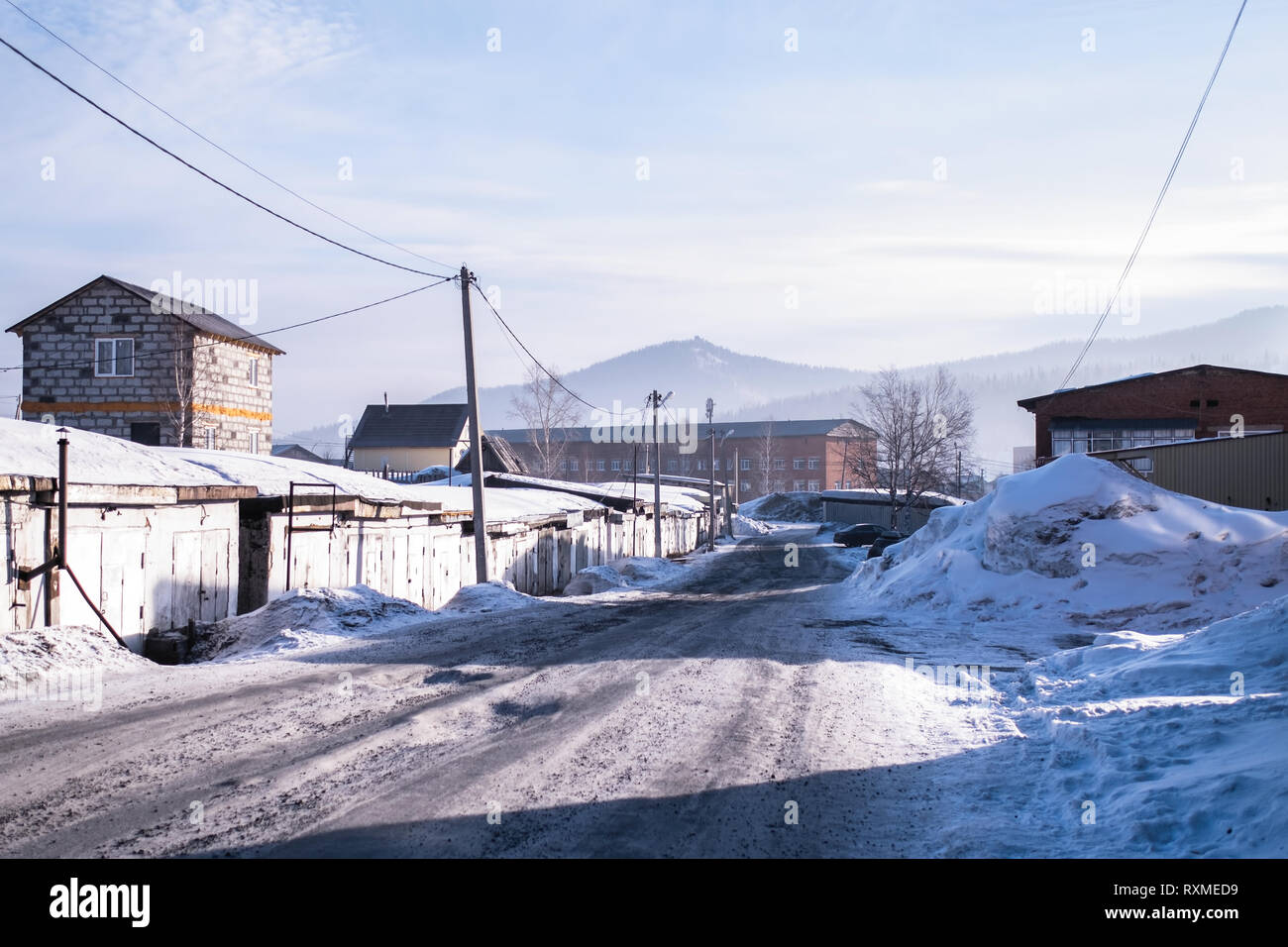 View of the Sheregesh urban locality in Mountain Shoria, Siberia - Russia. - Stock Image