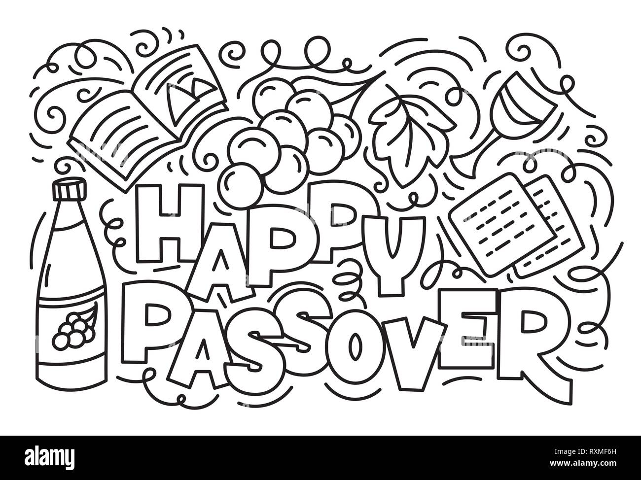 Passover Greeting Card Jewish Holiday Pesach Hebrew Text Happy Passover Black And White Vector Illustration Doodle Style Isolated On White Background Coloring Book Page Stock Vector Image Art Alamy