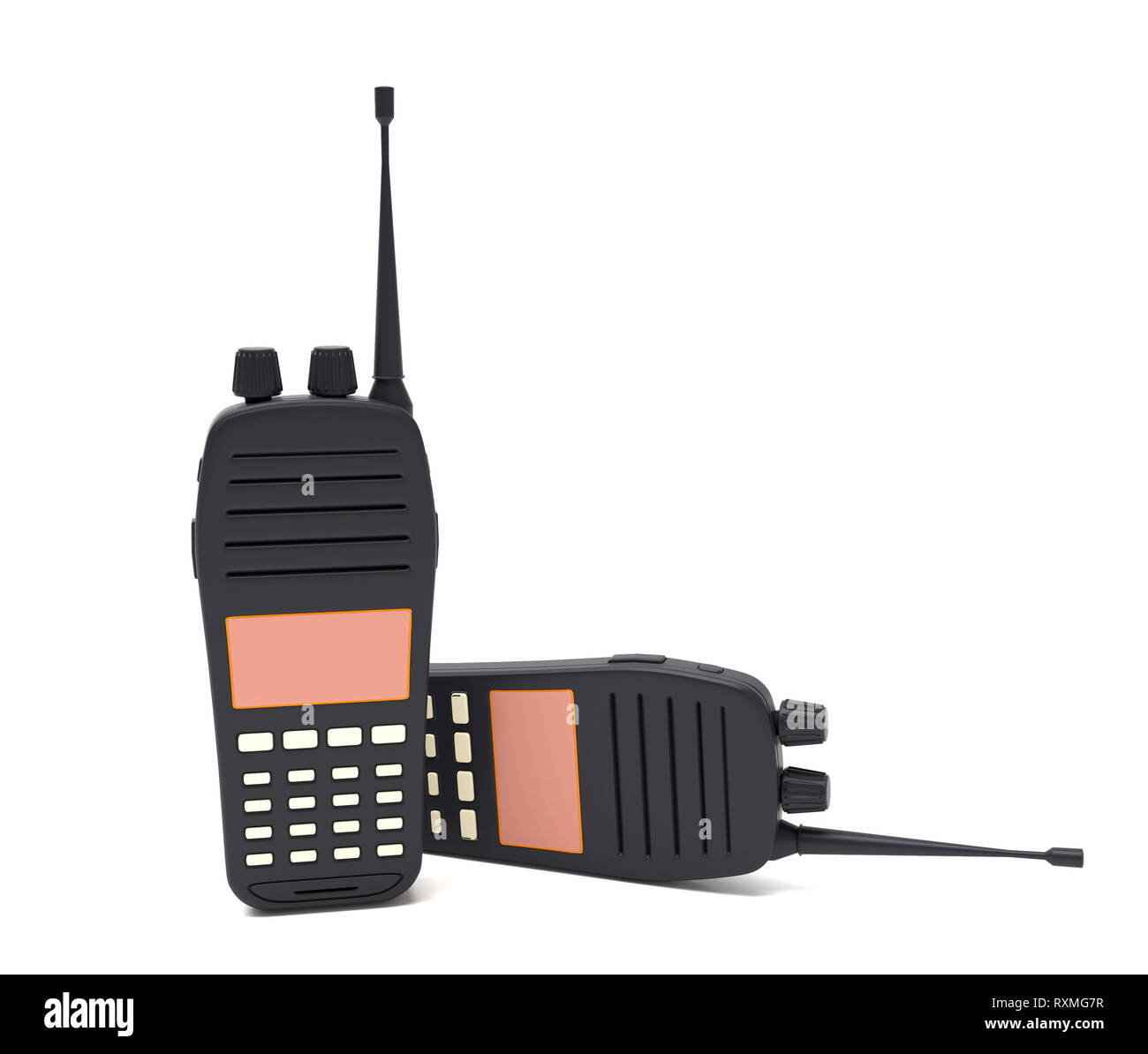 Two radio transceivers. 3d rendering illustration Stock Photo