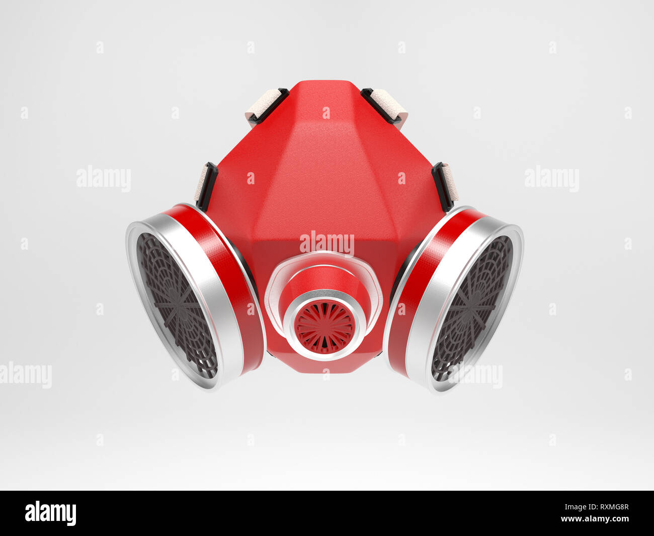 Gas mask. Red respirator. 3d rendering illustration - Stock Image