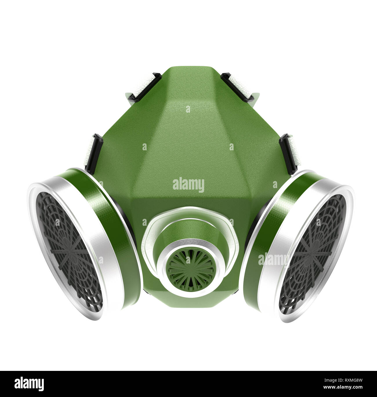 Gas mask. Green respirator. 3d rendering illustration isolated on white background - Stock Image