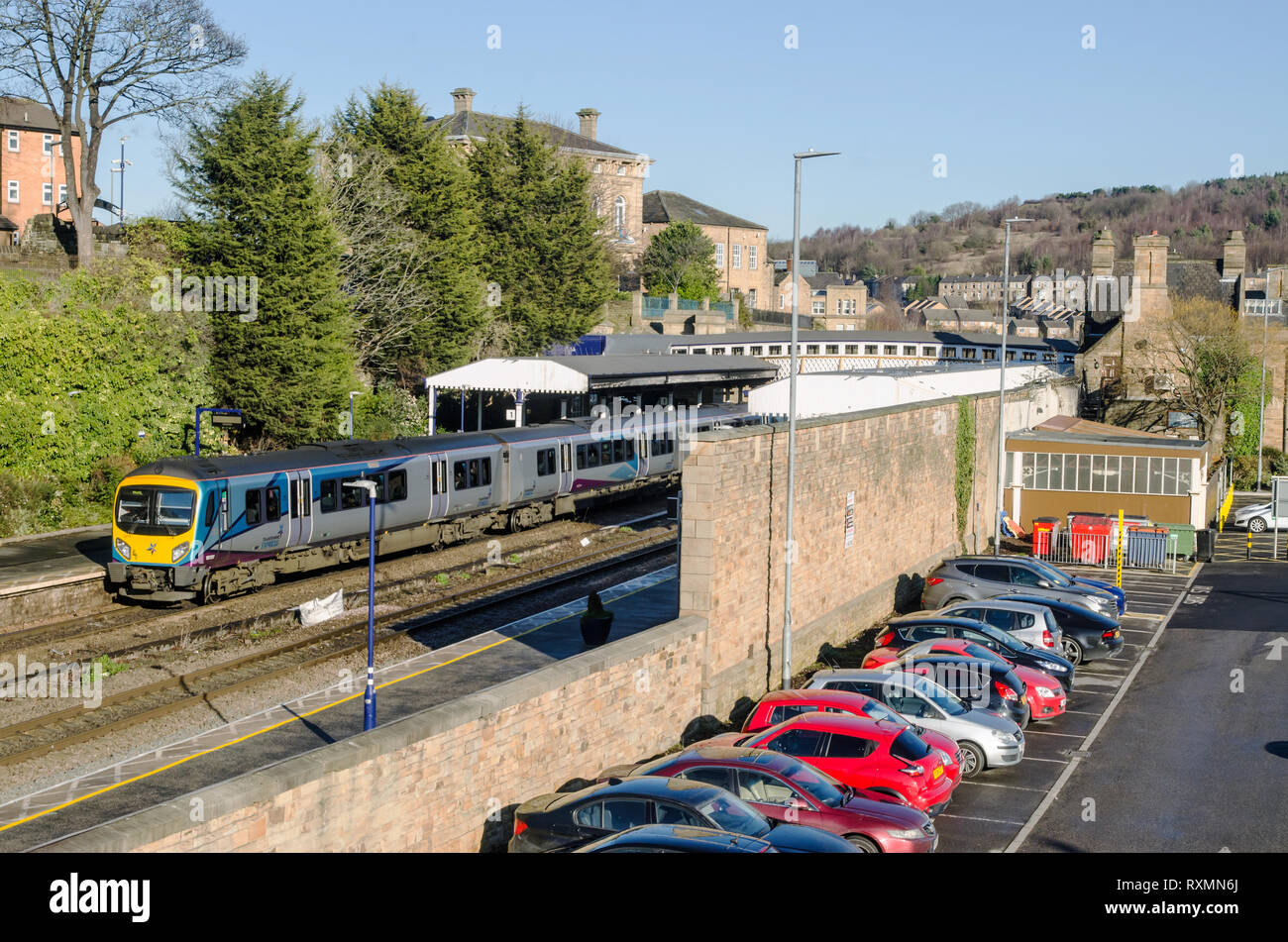 Transpennine Train at Dewsbury station. - Stock Image