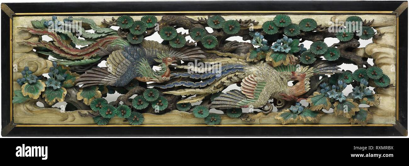 Two carved wooden transoms (ramma) panels from the Hooden. Takamura Koun; Japanese, 1852-1934. Date: 1893. Dimensions: 92.7 × 278.8 × 20.3 cm (36 1/2 × 109 3/4 × 8 in.) (each) (appro×imate). Wood with polychromy. Origin: Japan. Museum: The Chicago Art Institute. Stock Photo