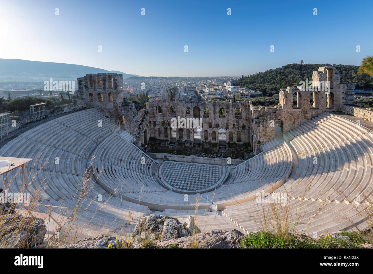 Ancient theater Odeon of Herodes Atticus on Acropolis hill in Athens, Greece - Stock Image